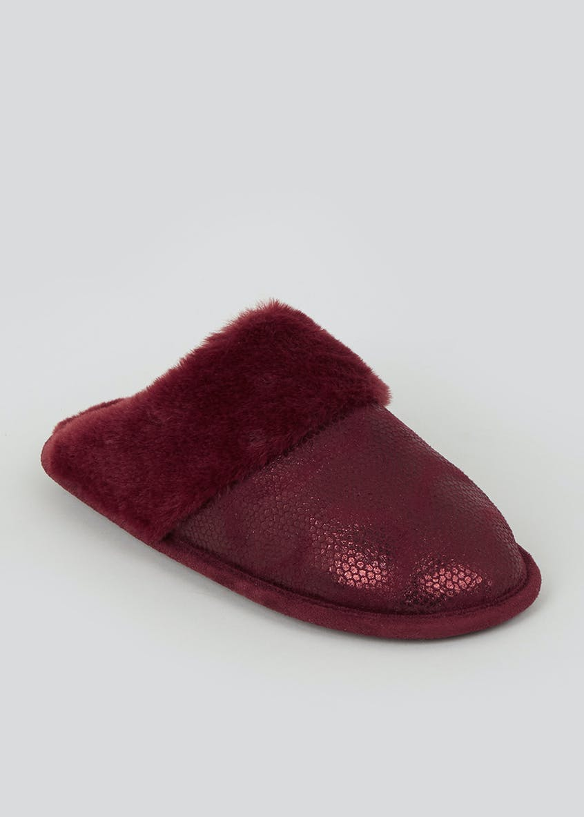 Burgundy Faux Fur Trim Mule Slippers