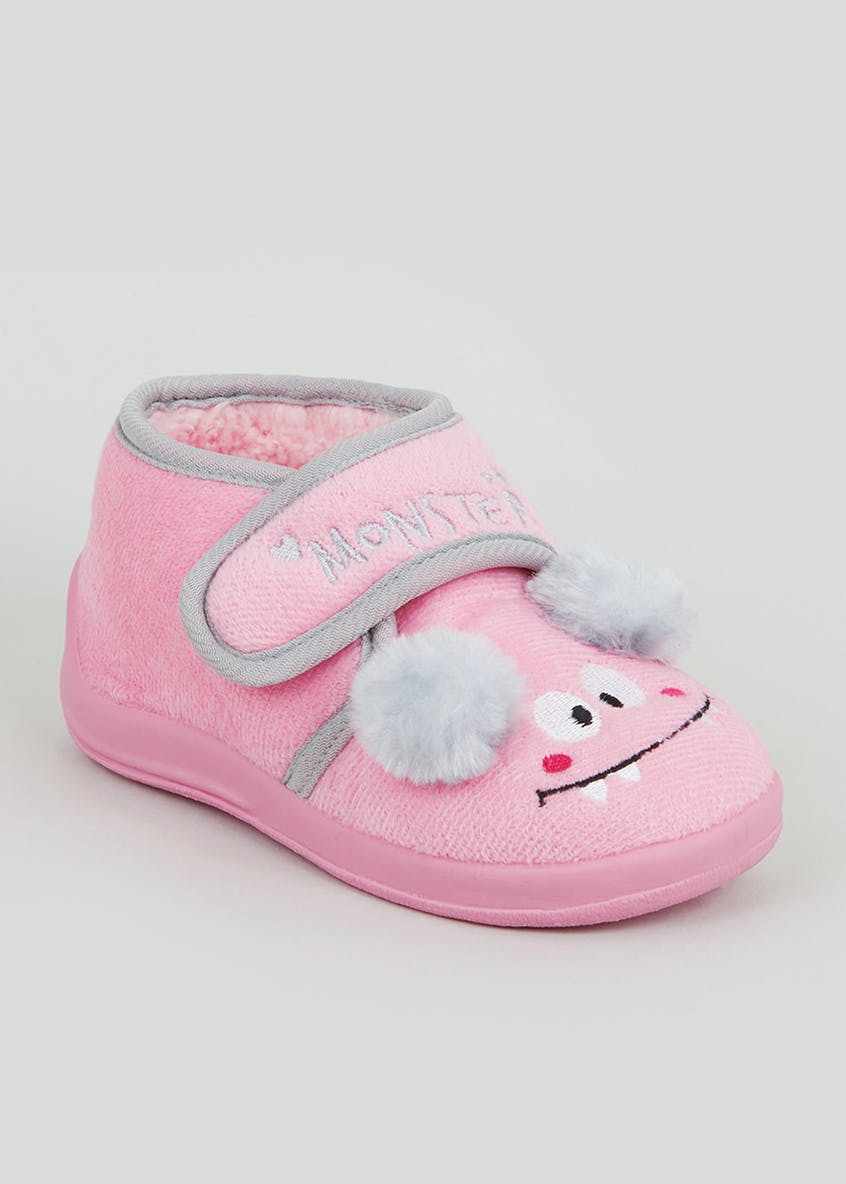 Kids Pink Co-Ord Monster Slippers (Younger 4-12)
