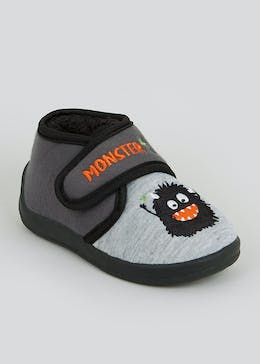 Kids Black Co-Ord Monster Slippers (Younger 4-12)