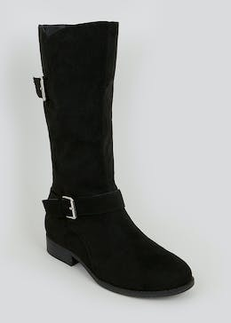 Black Buckle Calf Boots