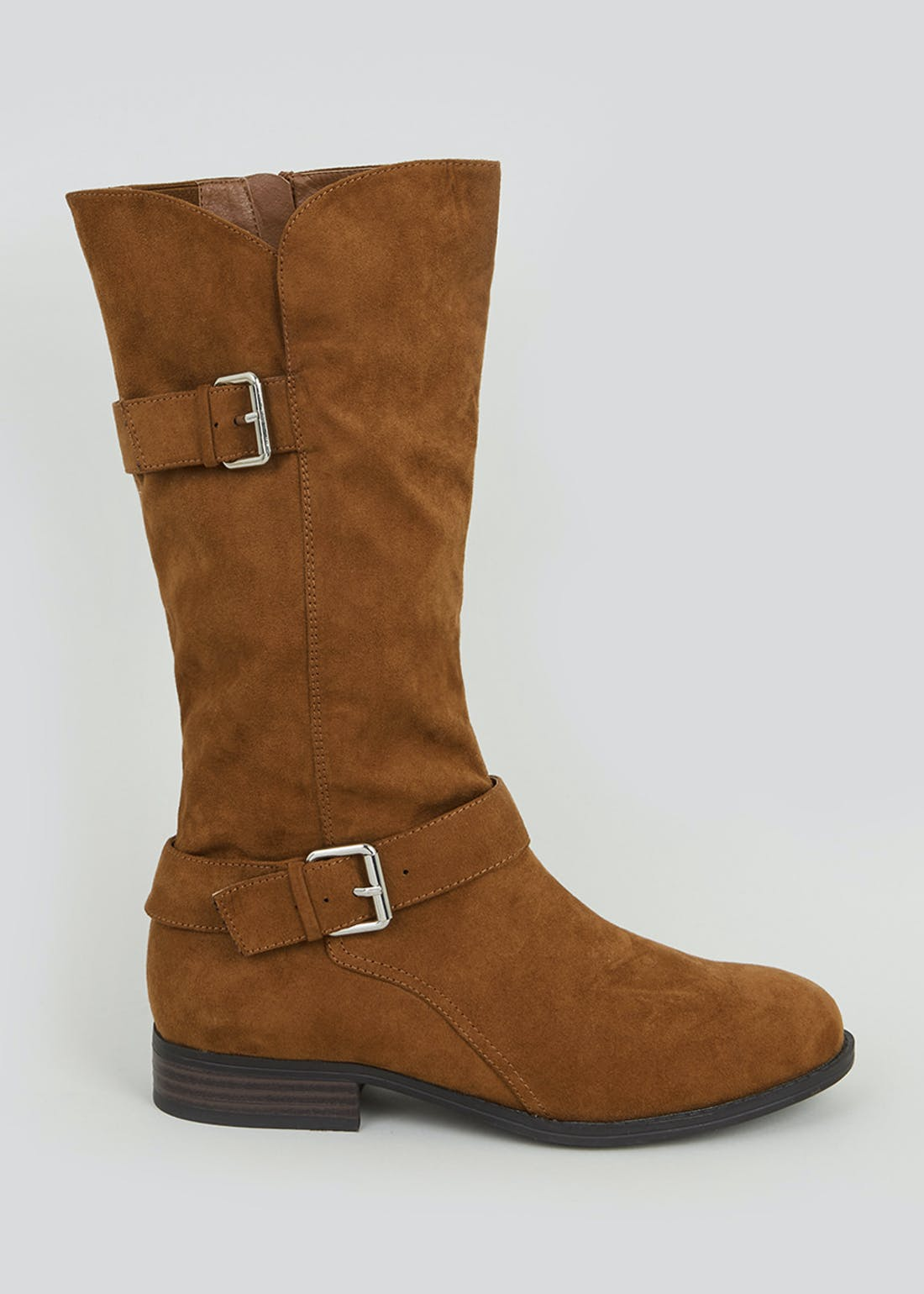 Tan Buckle Calf Boots