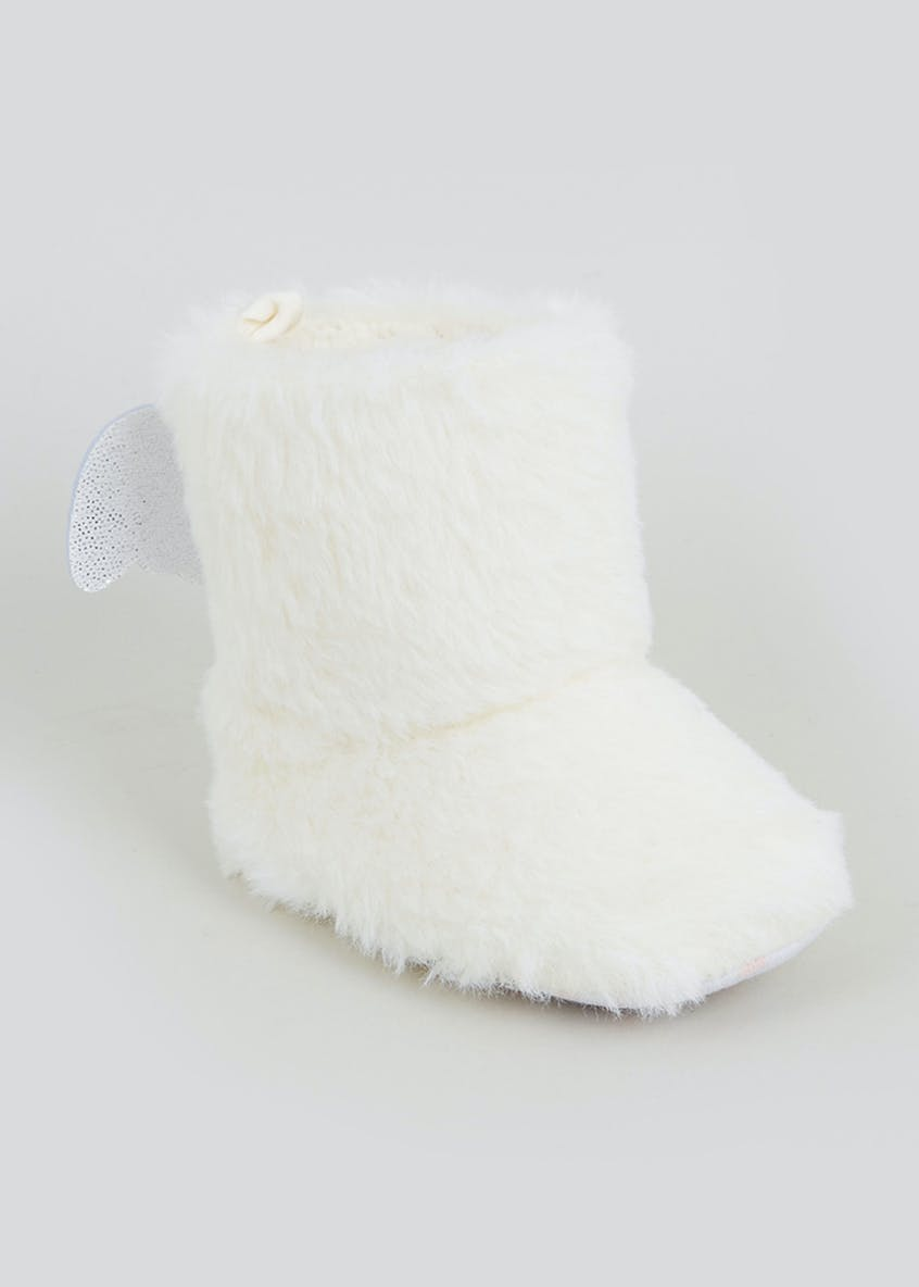 Kids Cream Angel Wing Faux Fur Boot Slippers (0-18mths)