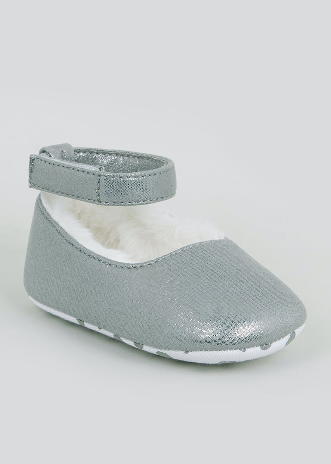 Girls Grey Soft Sole Faux Fur Lined Baby Shoes (Newborn-18mths)