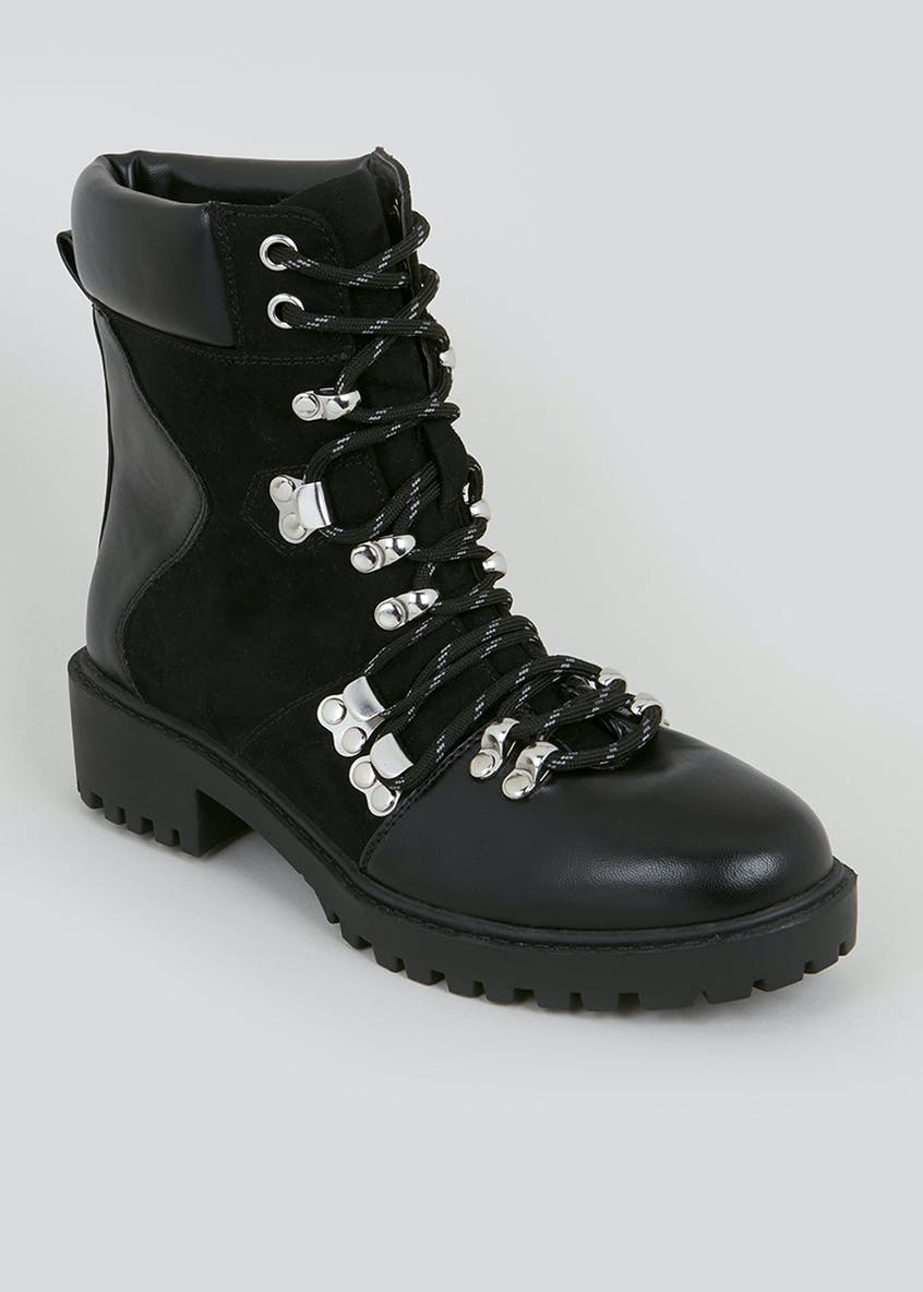Black Chunky Hiker Boots