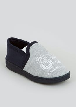 Boys Navy Full Slippers (Younger 10-Older 6)