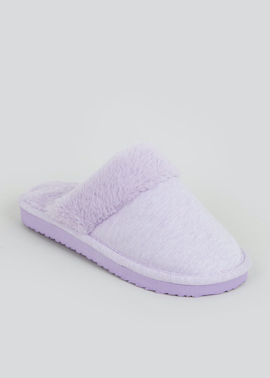 Lilac Faux Fur Lined Mule Slippers (Younger 10-Older 5)