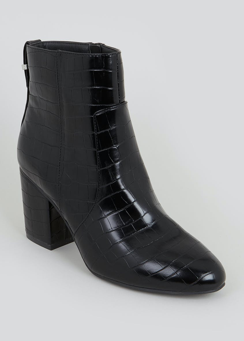 Wide Fit Mock Croc Ankle Boots