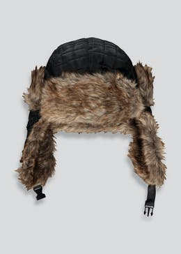 Kids Quilted Faux Fur Lined Trapper Hat (7-13yrs)