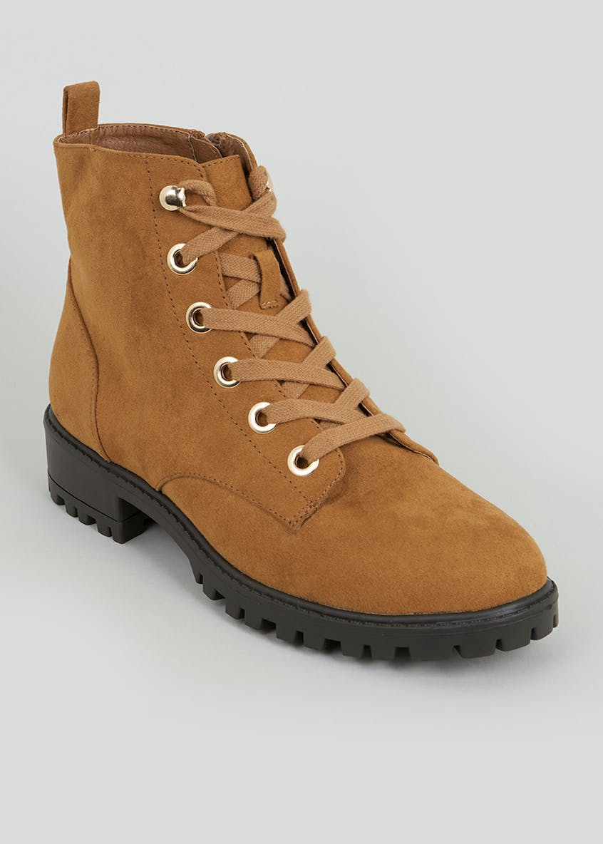 Faux Suede Lace Up Cleated Boots