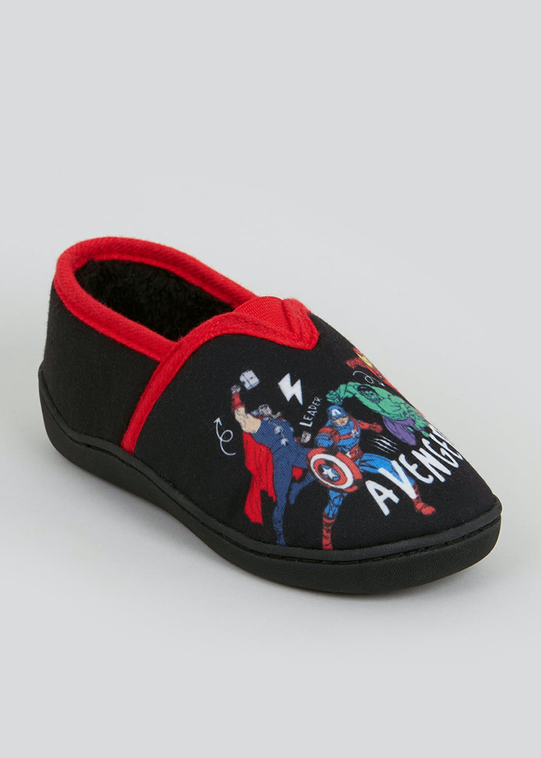 Kids Black Co-Ord Avengers Slippers (Younger 7-13)