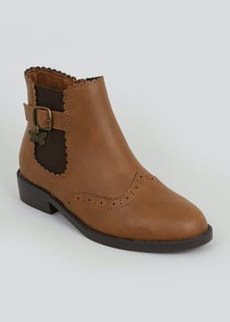 Girls Tan Butterfly Chelsea Boots (Younger 10-Older 5)