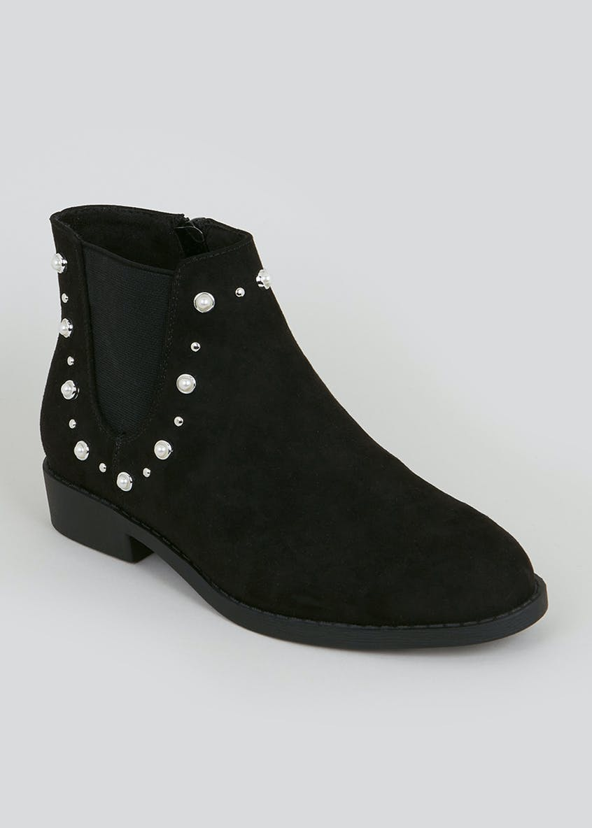 Girls Pearl Stud Ankle Boots (Younger 10-Older 5)