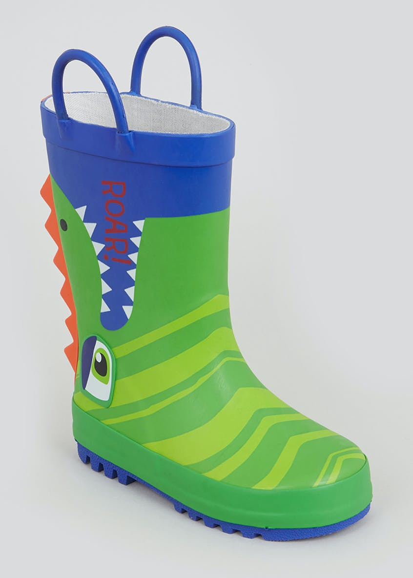 Kids Green Crocodile Wellies (Younger 4-12)