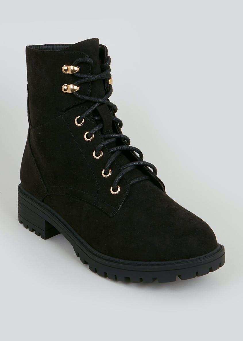 Wide Fit Faux Suede Hiker Boots