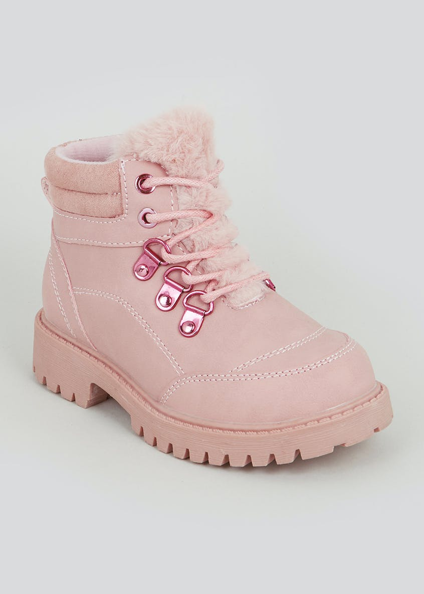Girls Faux Fur Hiker Boots (Younger 4-12)