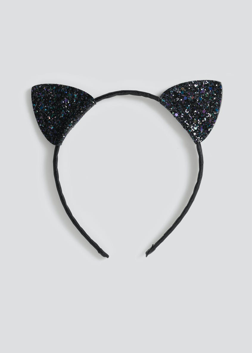 Girls Black Glitter Cat Ears