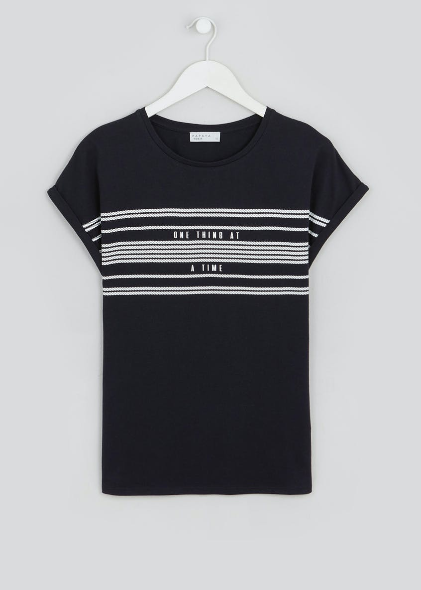 Rope Stripe Slogan T-Shirt