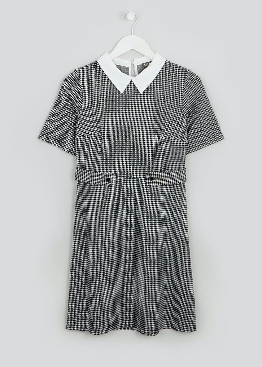 Papaya Petite Grey Short Sleeve Collared Check Ponte Dress