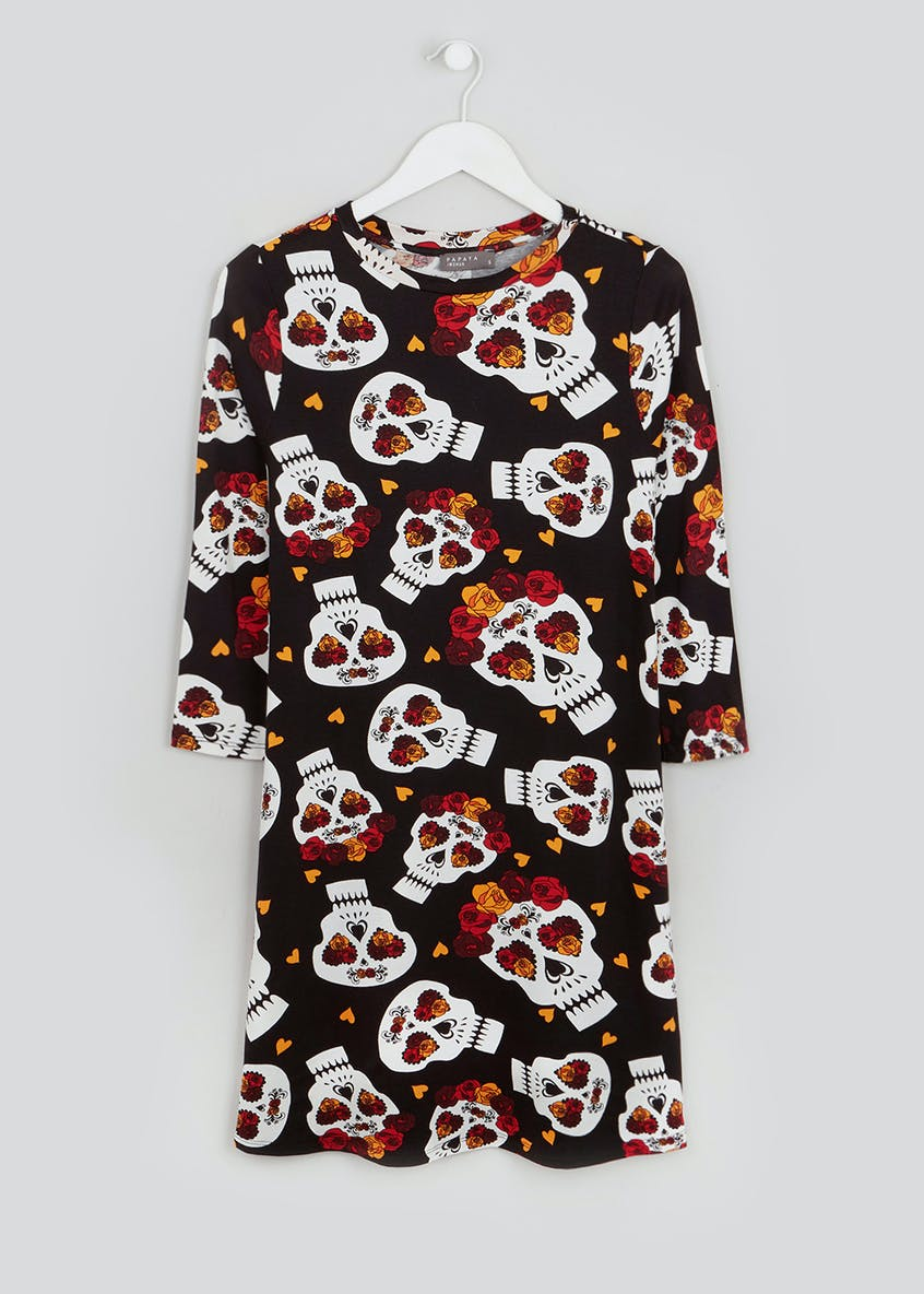 Halloween Skull Print Swing Dress