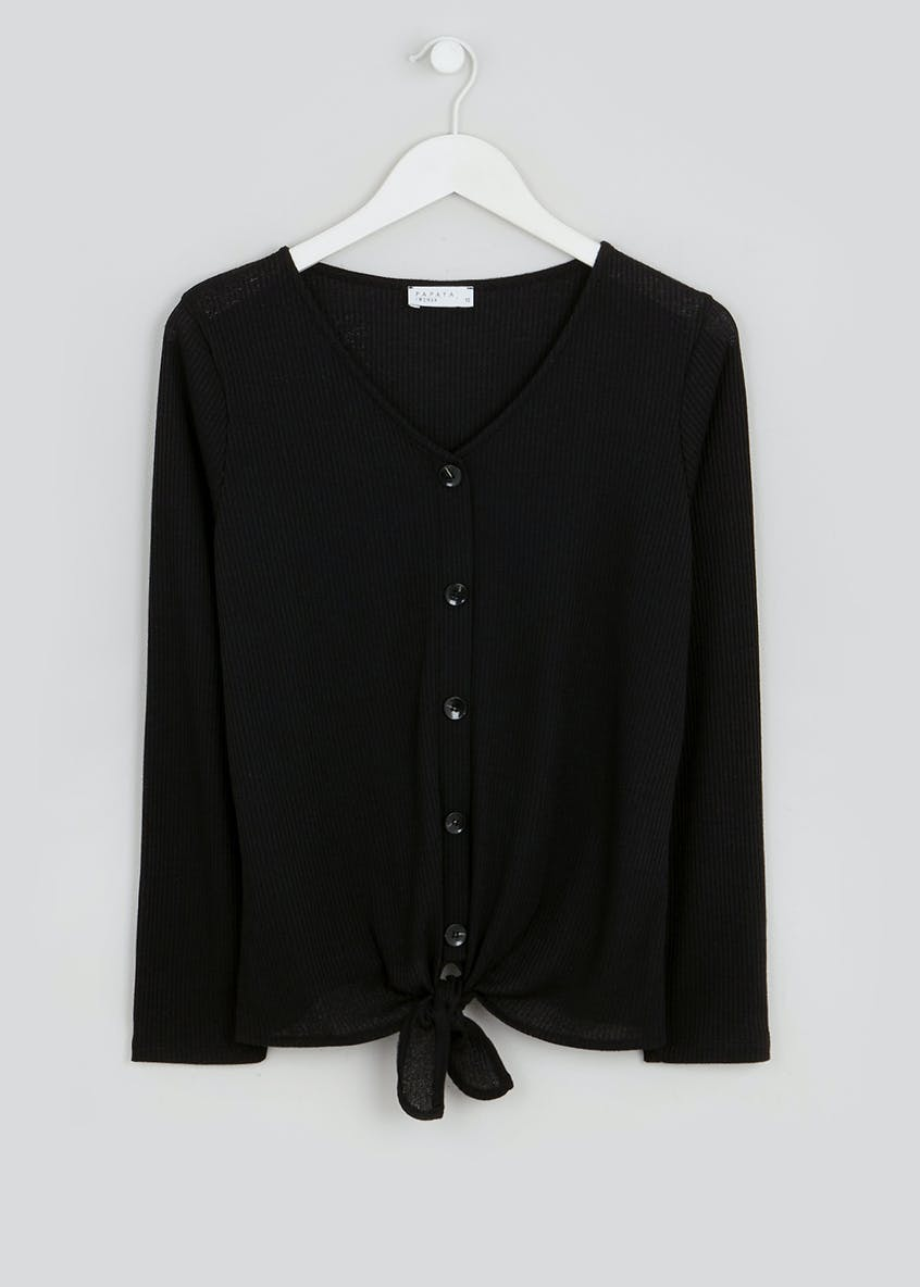 Button Tie-Front V-Neck Top
