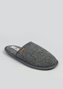 Ben Sherman Grey Herringbone Mule Slippers