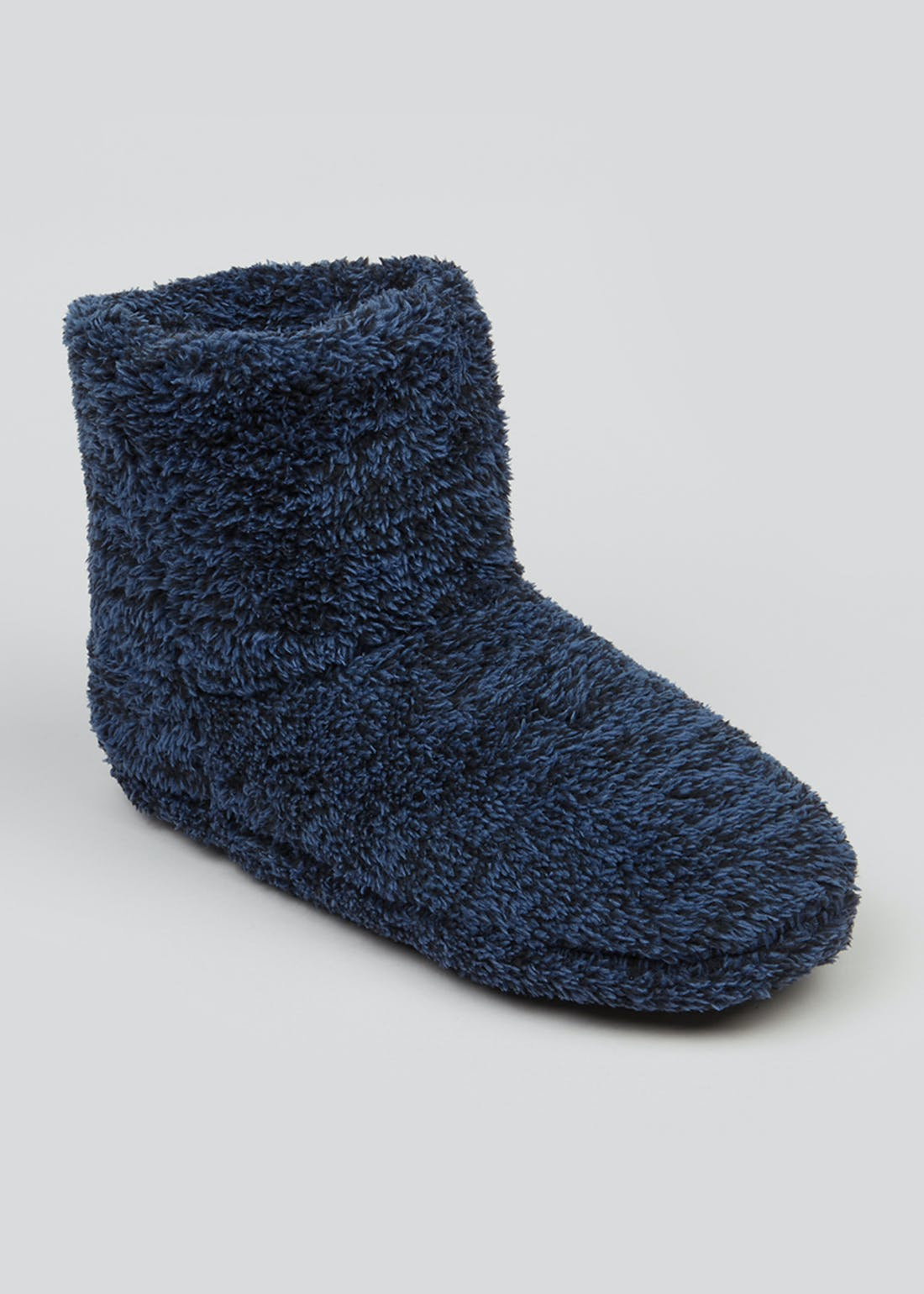 Navy Fluffy Slipper Boots