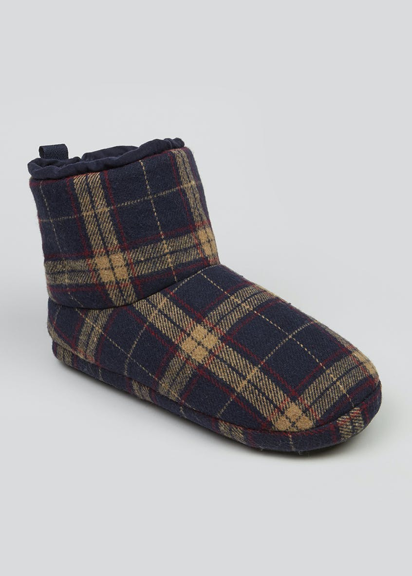 Navy Tartan Check Slipper Boots