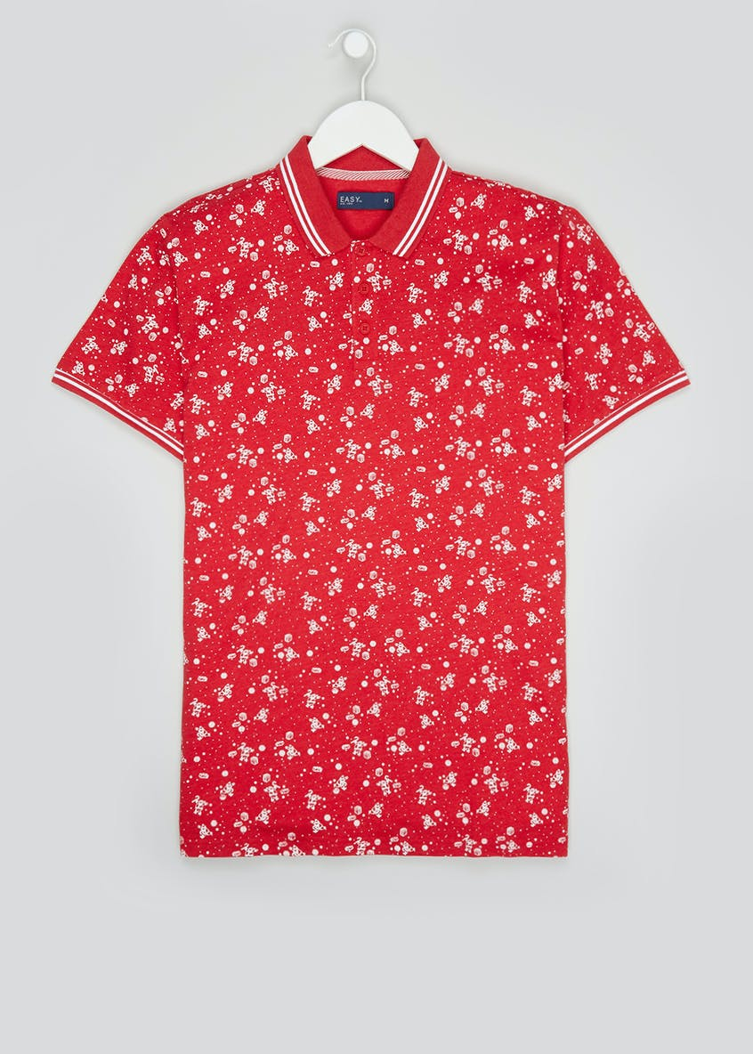 Short Sleeve Santa Print Christmas Polo Shirt