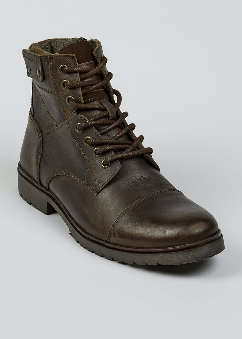 Brown Real Leather Military Boots