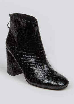 Patent Zip Back Heeled Ankle Boots
