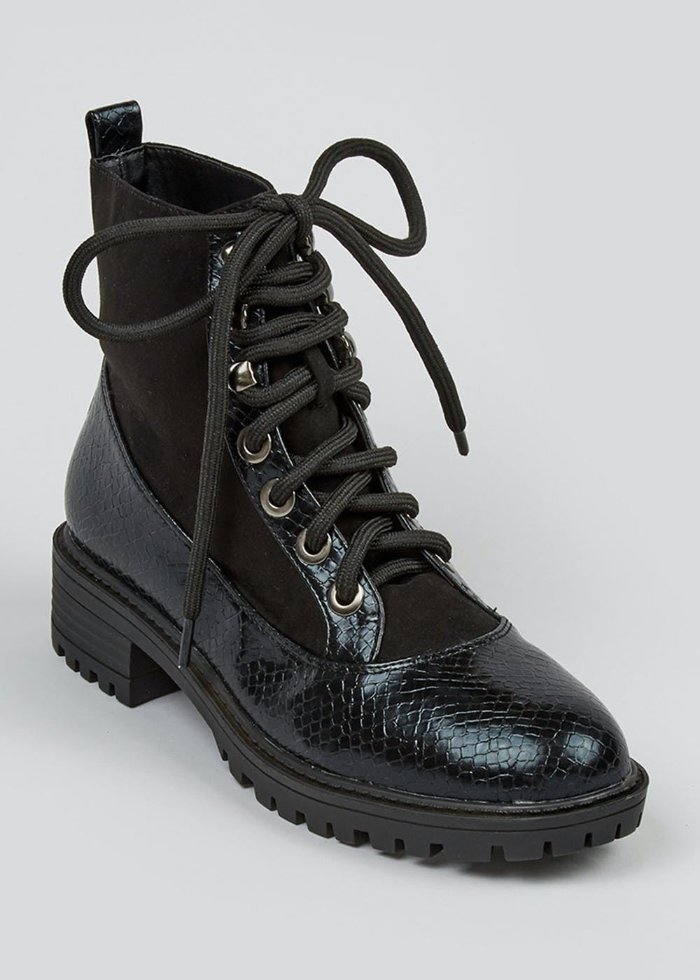 contrast-snake-lace-up-cleated-boots by matalan