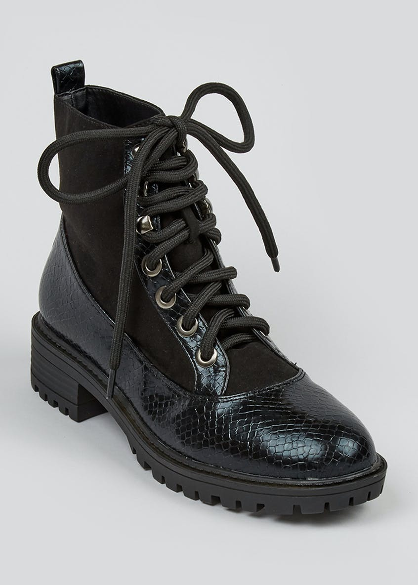 Contrast Snake Lace Up Cleated Boots