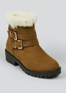 Fur Lined Buckle Ankle Boots