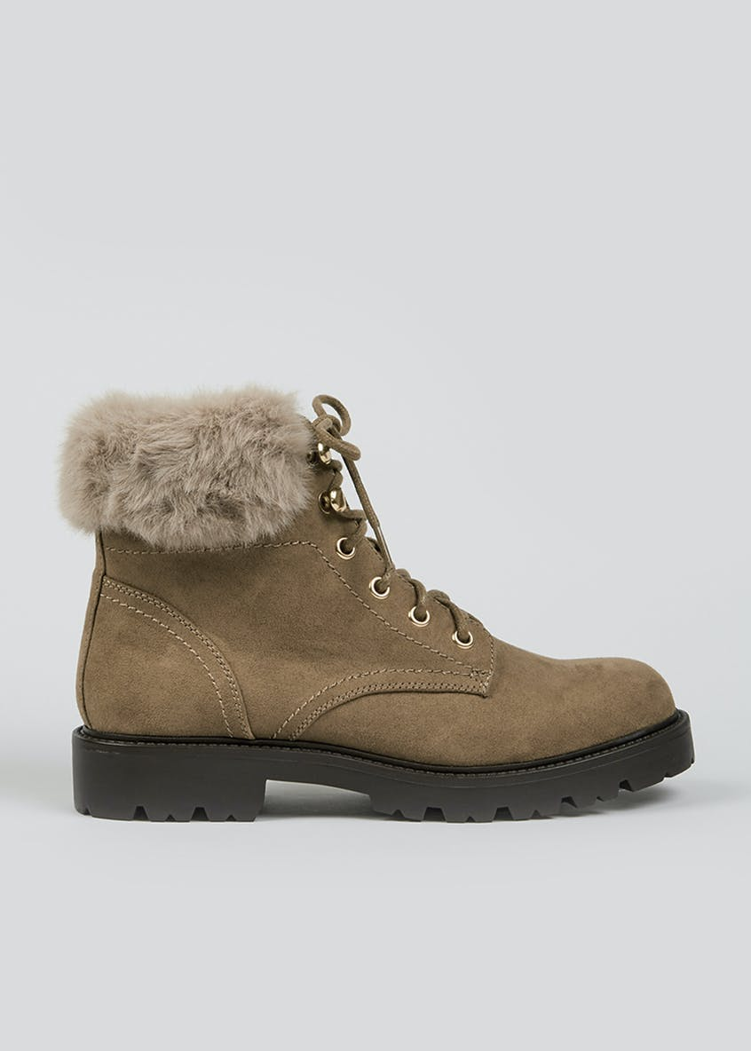 Taupe Faux Fur Lace Up Boots