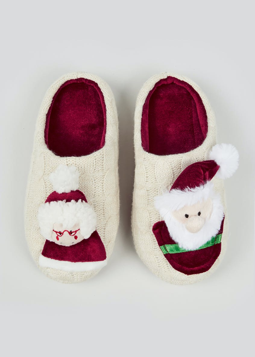 Cream Mr & Mrs Santa Mule Slippers