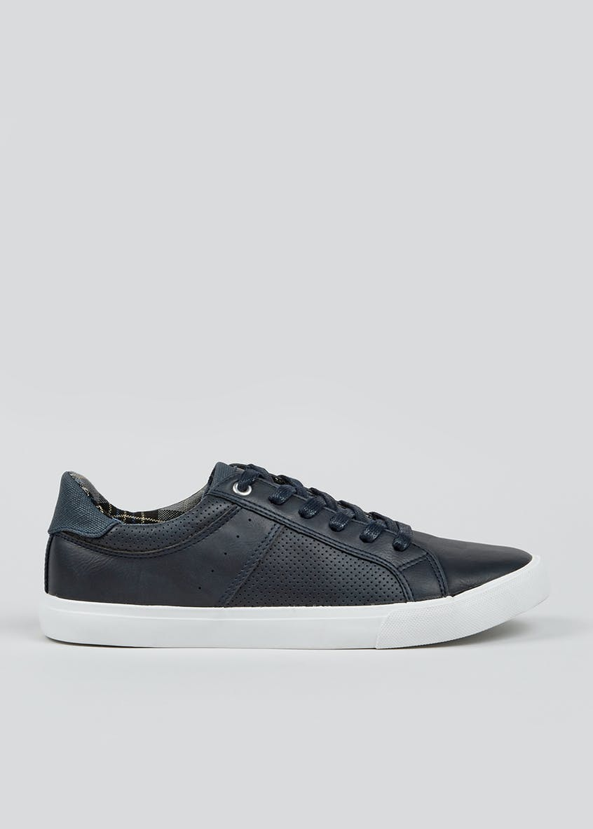 Navy Panel Lace Up Trainers