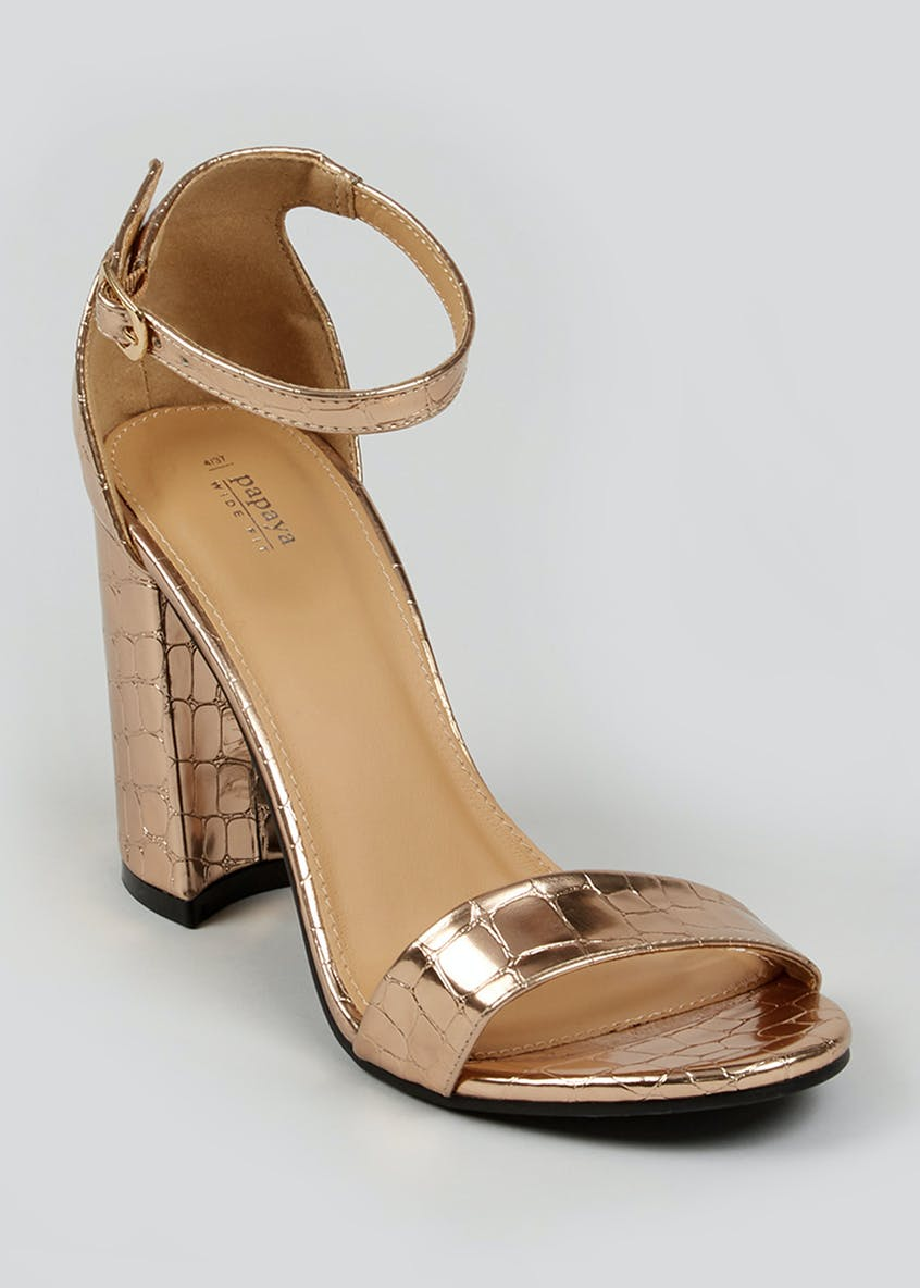 Wide Fit Metallic Croc Block Heel Sandals