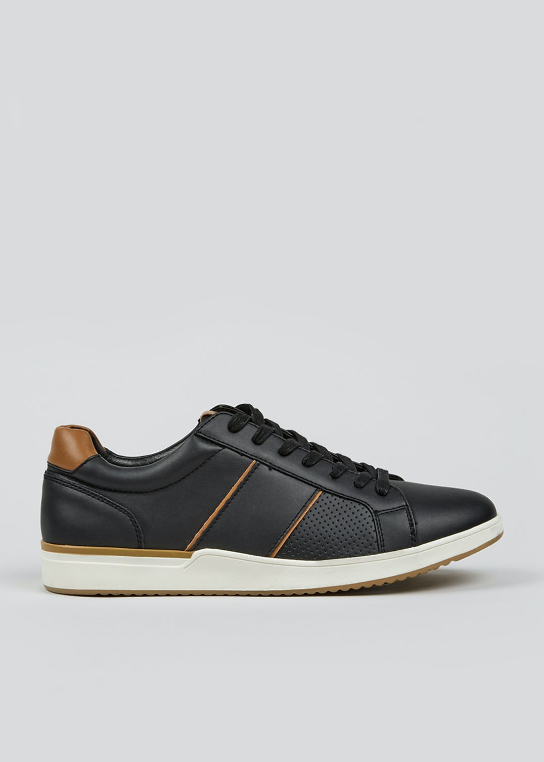 Black Lace Up Panel Trainers