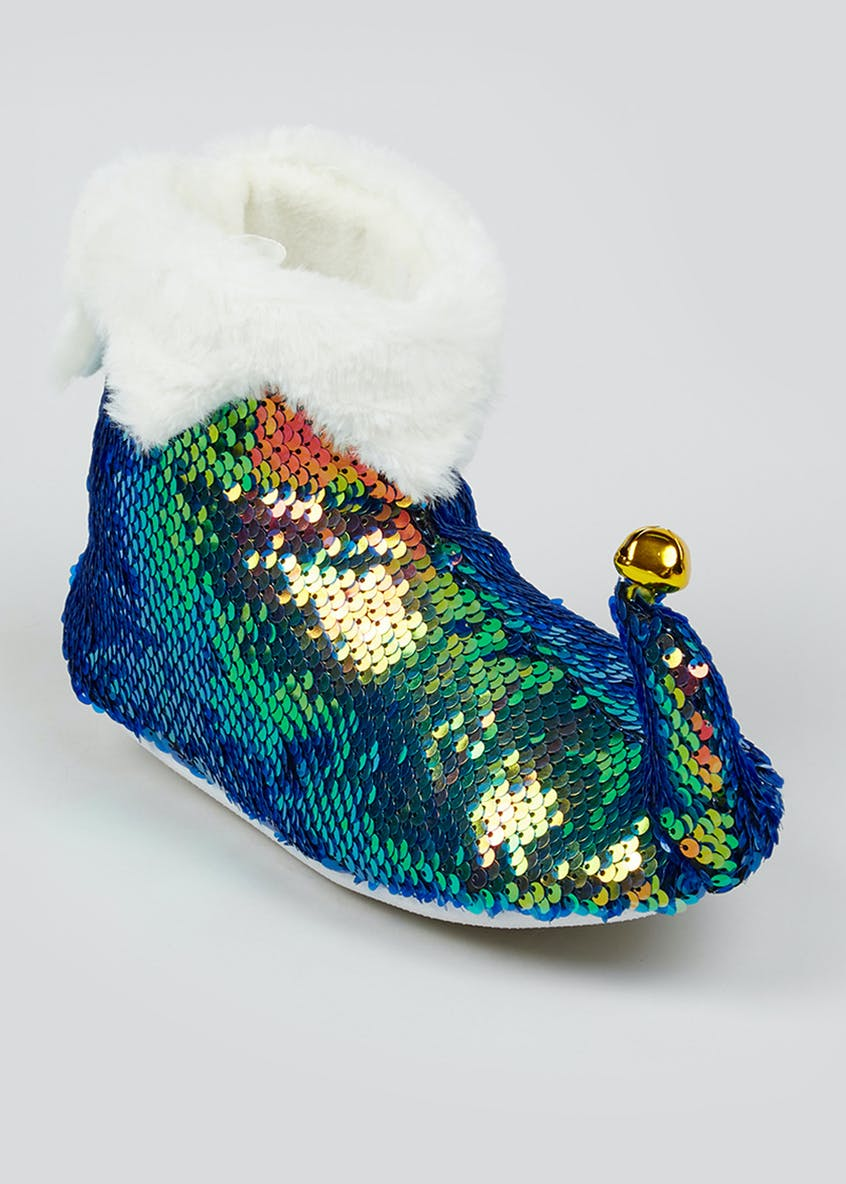Sequin Elf Slipper Boots