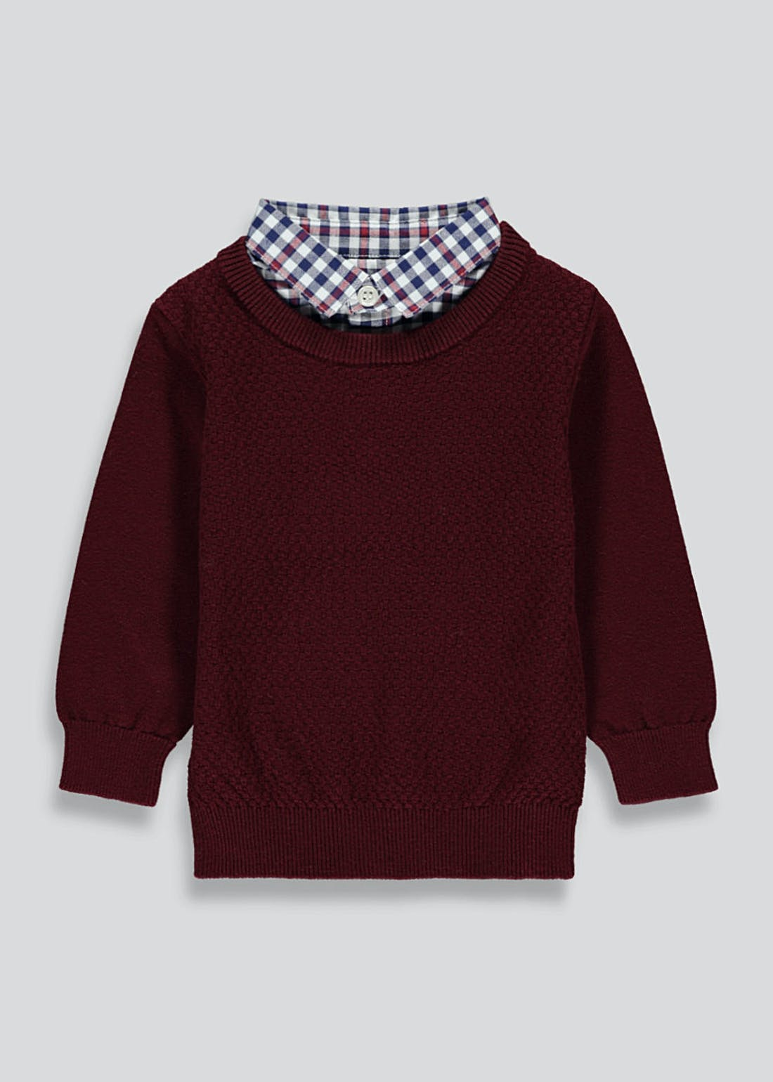 Boys Knitted Jumper With Mock Shirt Collar (9mths-6yrs)
