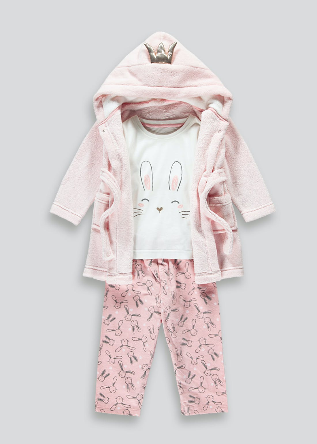 Girls 3 Piece Bunny Pyjama Set (9mths-5yrs)