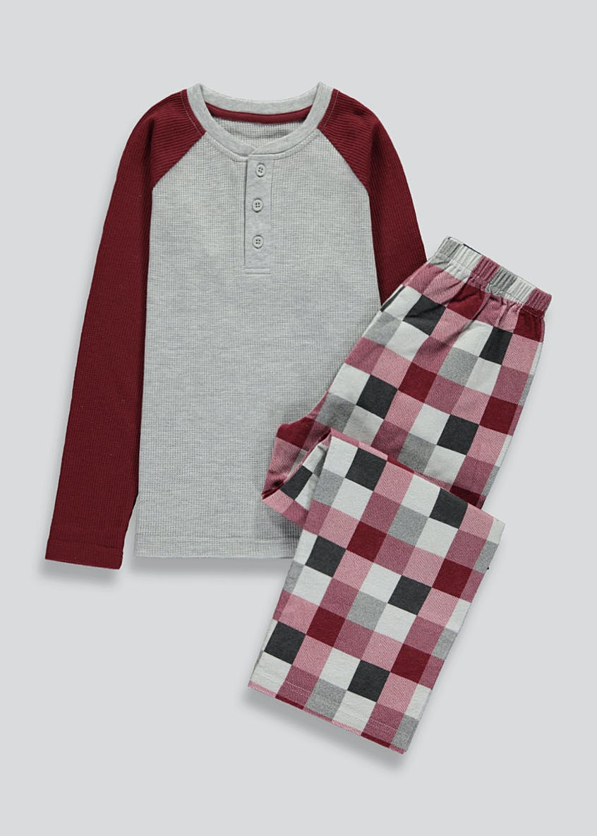 Boys Jersey Check Pyjama Set (5-13yrs)