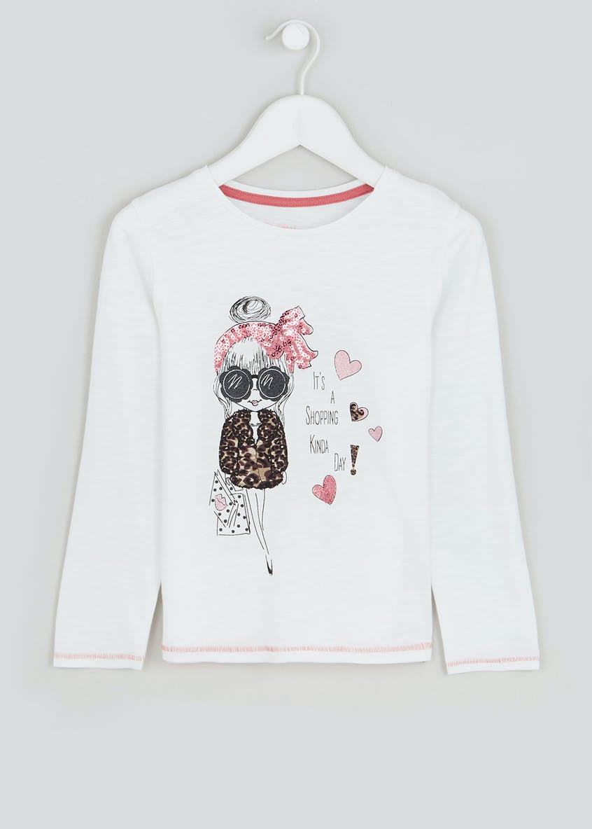 Girls Shopping Print Long Sleeve T-Shirt (4-13yrs)