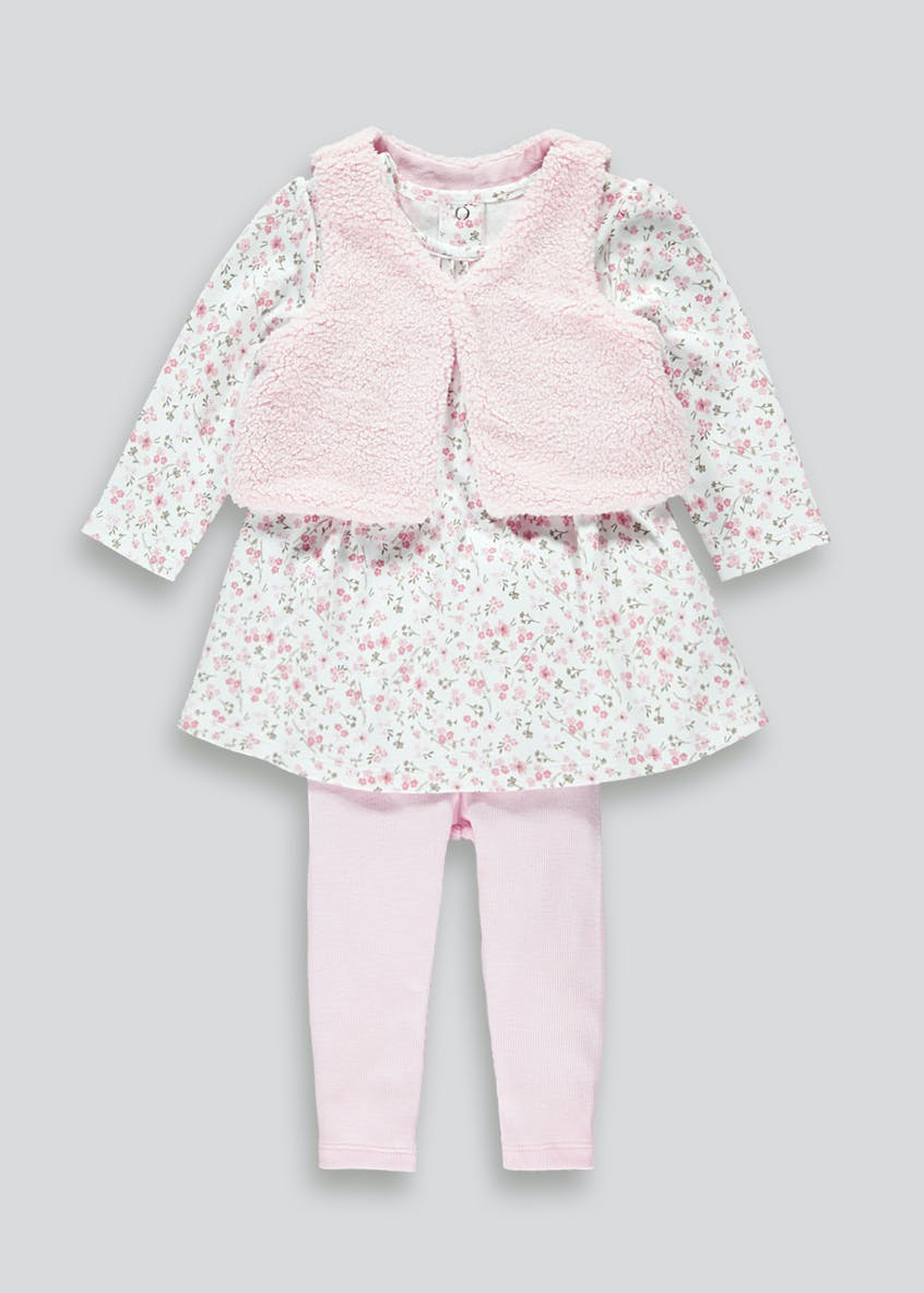 Girls Floral Shrug Dress & Leggings Set (Newborn-18mths)