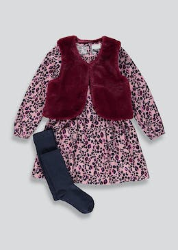 Girls Dress And Gilet Set With Knitted Tights (4-10yrs)