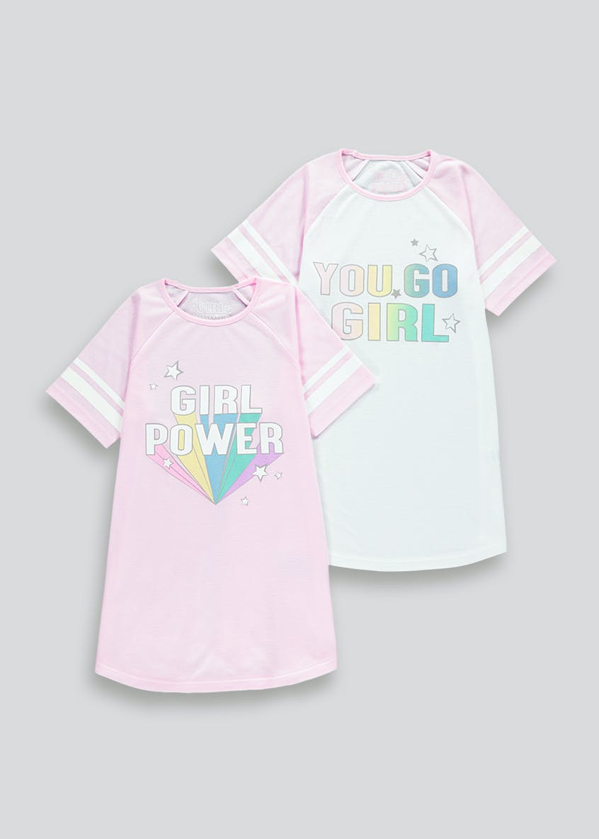 Girls 2 Pack Girl Power Nighties (4-13yrs)