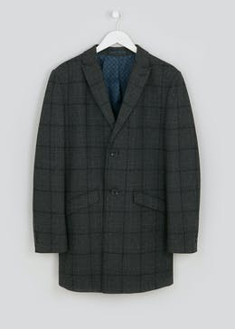 Dark Check Formal Coat