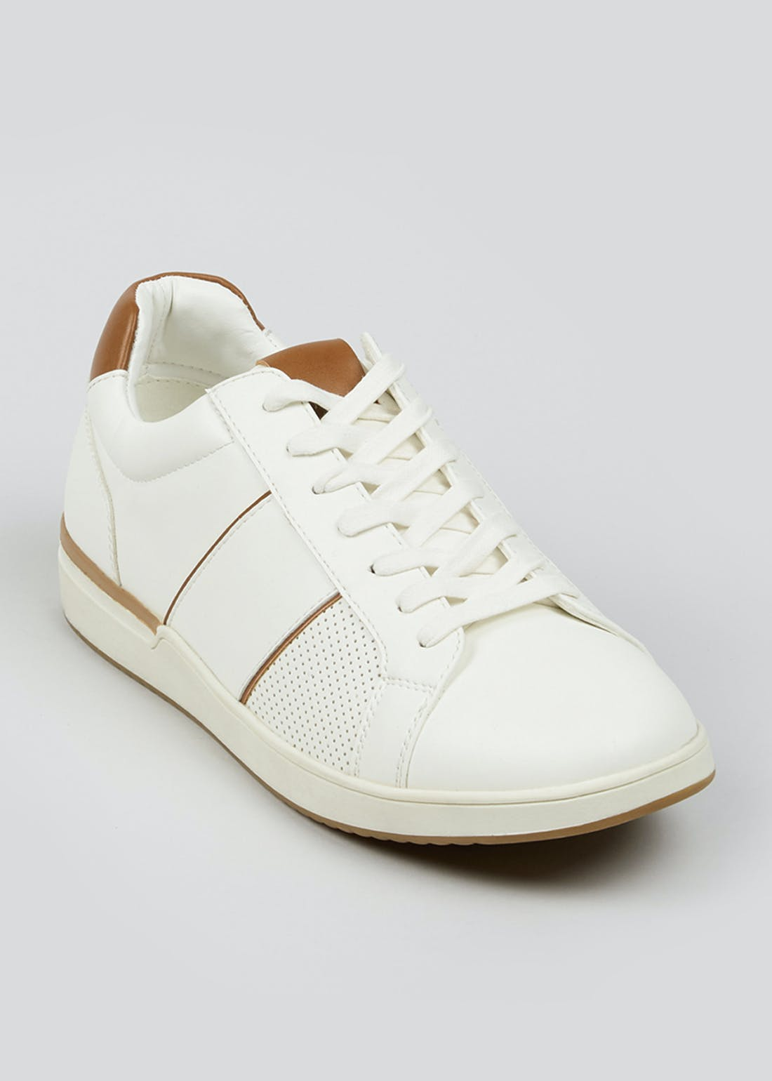 White Lace Up Panel Trainers