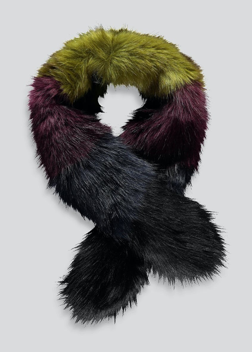 Stripe Faux Fur Scarf