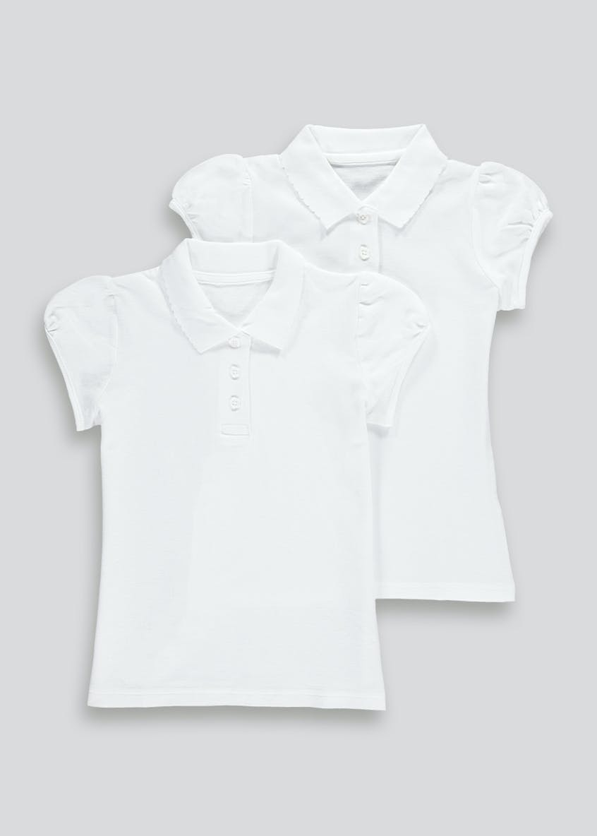 Girls 2 Pack White Scallop Collar School Polo Shirts (3-13yrs)